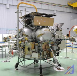 Die russische Weltraumsonde, erbaut um den Marsmond Phobos zu erkunden